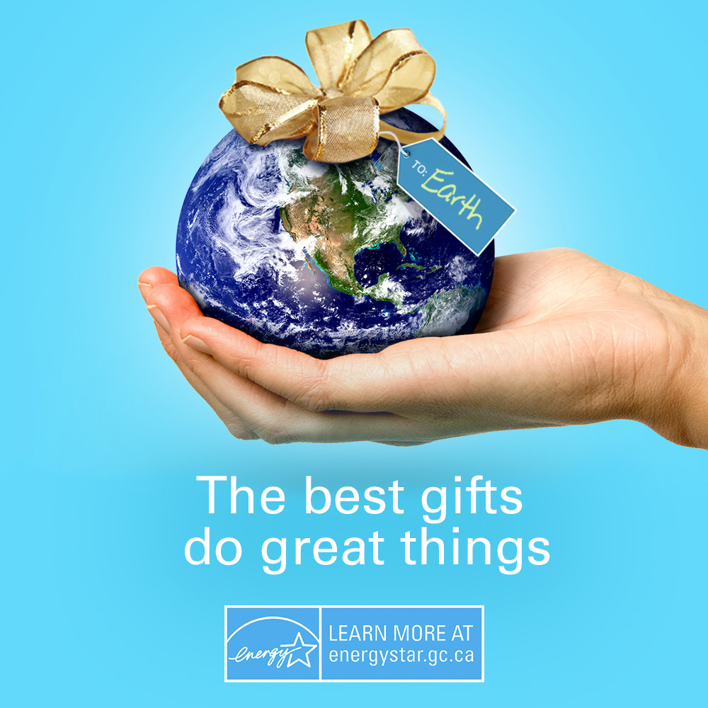 "A hand holding the earth with a bow on top, text at the bottom of the image says ""The best gifts do great things""."
