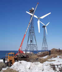 Ramea Island wind-diesel project under construction. Photo credit: Frontier Power Systems Inc.