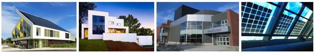 Figure 4: Examples of BIPV installations in Canada (© from left to right: Maxime Gagné, One House Green, University of Alberta, Véronique Delisle)