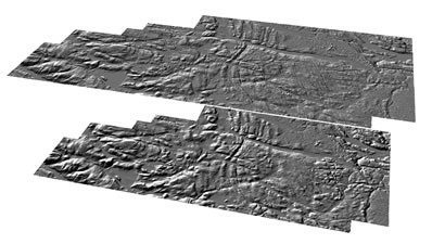 A comparison of a LiDAR derived 2m digital terrain model (bottom) compared to the Ontario Base Map 10m digital terrain model product (top).