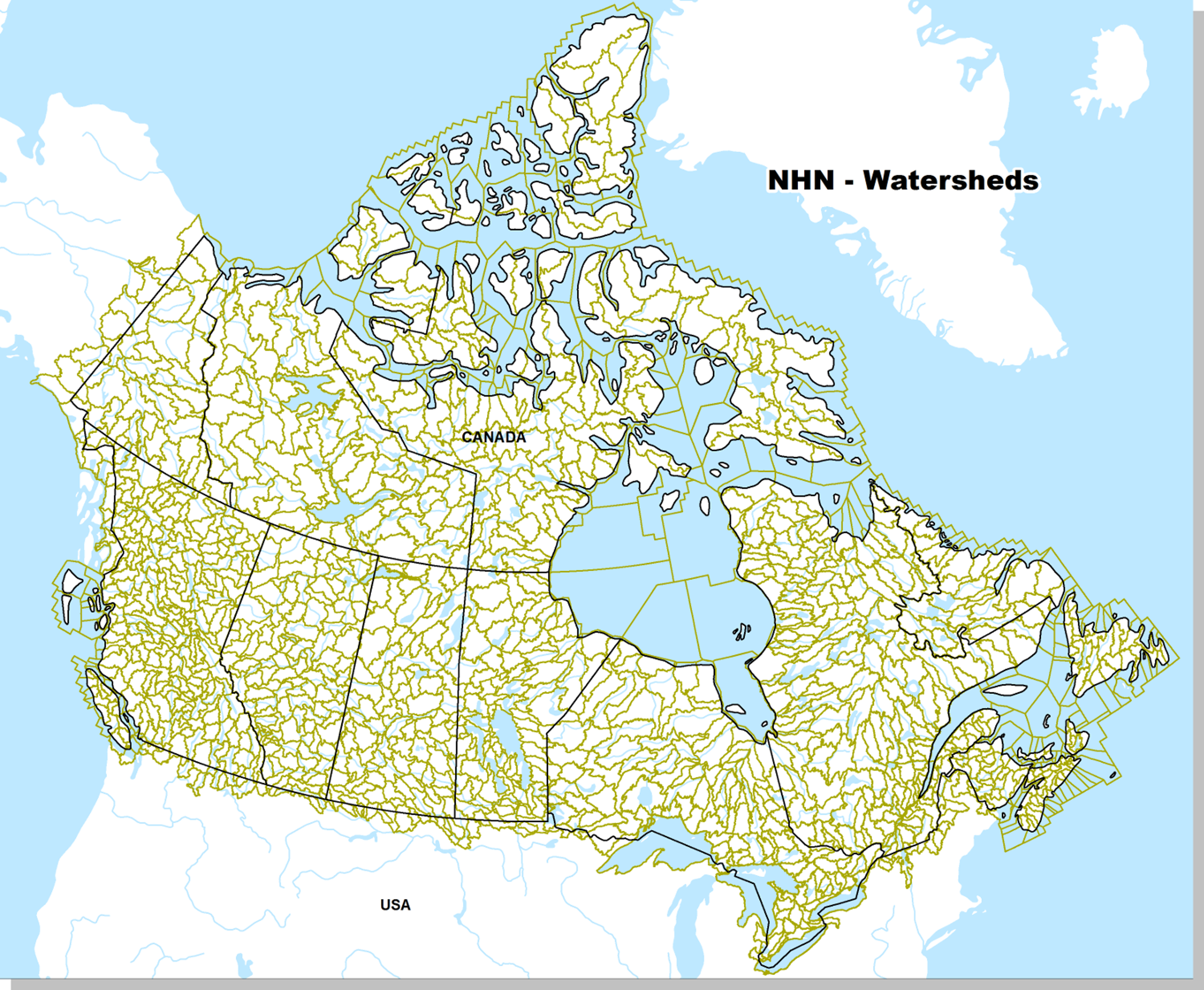 Map of Watershed Boundaries across the entire Canadian territory