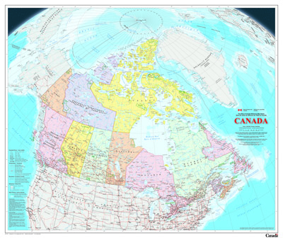 Canada On Map Of The World.Wall Maps Natural Resources Canada
