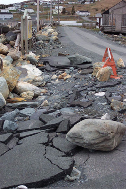 FIGURE 27: Storm-surge damage to road, April 2004, Ferryland, NL.
