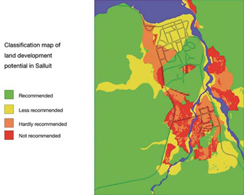 FIGURE 13: Sample map of Salluit in Nunavik, Quebec, showing vulnerability of the land with regard to infrastructure construction (Solomon-Côté, 2004).