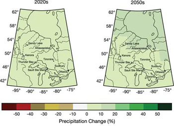 FIGURE 12: Projected annual change in precipitation (%) for the 2020s (left) and 2050s (right), relative to 1961-1990, based on the median of seven global climate models and using the emissions scenarios of the Special Report on Emissions Scenarios (SRES).and precipitation derived from suite of scenarios on plot. (see Appendix 1 of Chapter 2 for details).