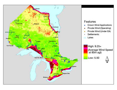 FIGURE 6: Wind power resources in Ontario (Ontario Ministry of Natural Resources, 2006a).