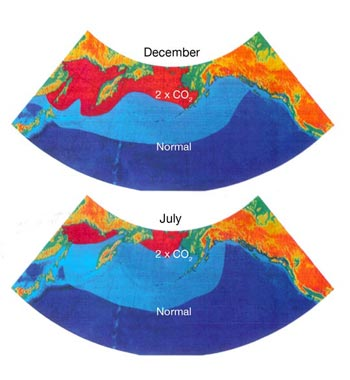 FIGURE 6: Current and projected (under a scenario of 2 x CO2) distribution of thermal limits controlling the distribution of sockeye salmon in the north Pacific Ocean for December and July (Natural Resources Canada, 2000).