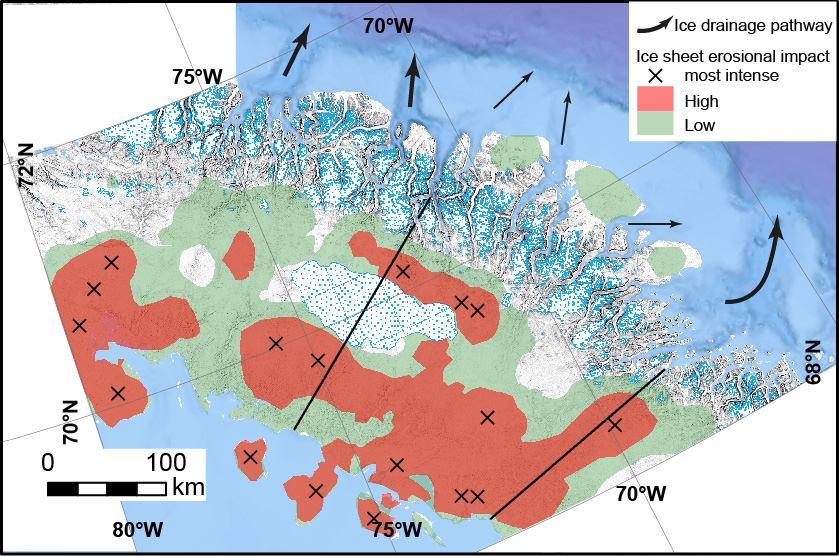 The ice-sheet erosional impact on the Baffin Island Shield
