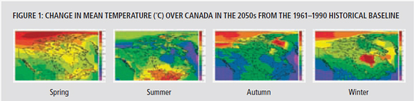 figure 1: Change in mean temperature (C) over Canada in the 2050s from the 1961-1990 historical baseline