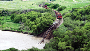 Photo of train track wash out