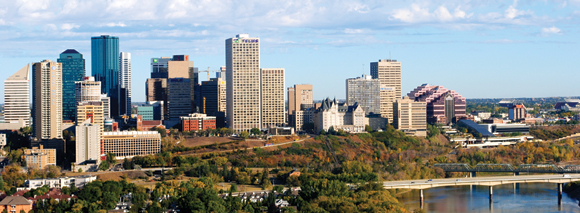 Daytime cityscape photo of downtown Edmonton