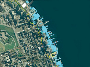 Map of projected sea level rise for Halifax Harbour