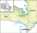 Map depicting the location of London in Ontario and Eastern Canada