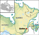 inset map depicting the location of Quebec City in Quebec and Eastern Canada