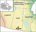 Map locating Regina in Saskatchewan and Canada