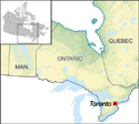 A section of a map of Canada centered on the province of Ontario denoting the location of the city of Toronto.