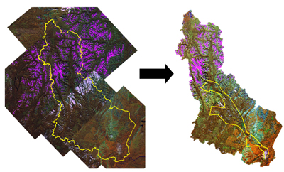 Mosaic of Landsat images covering the area of Nahanni Park.