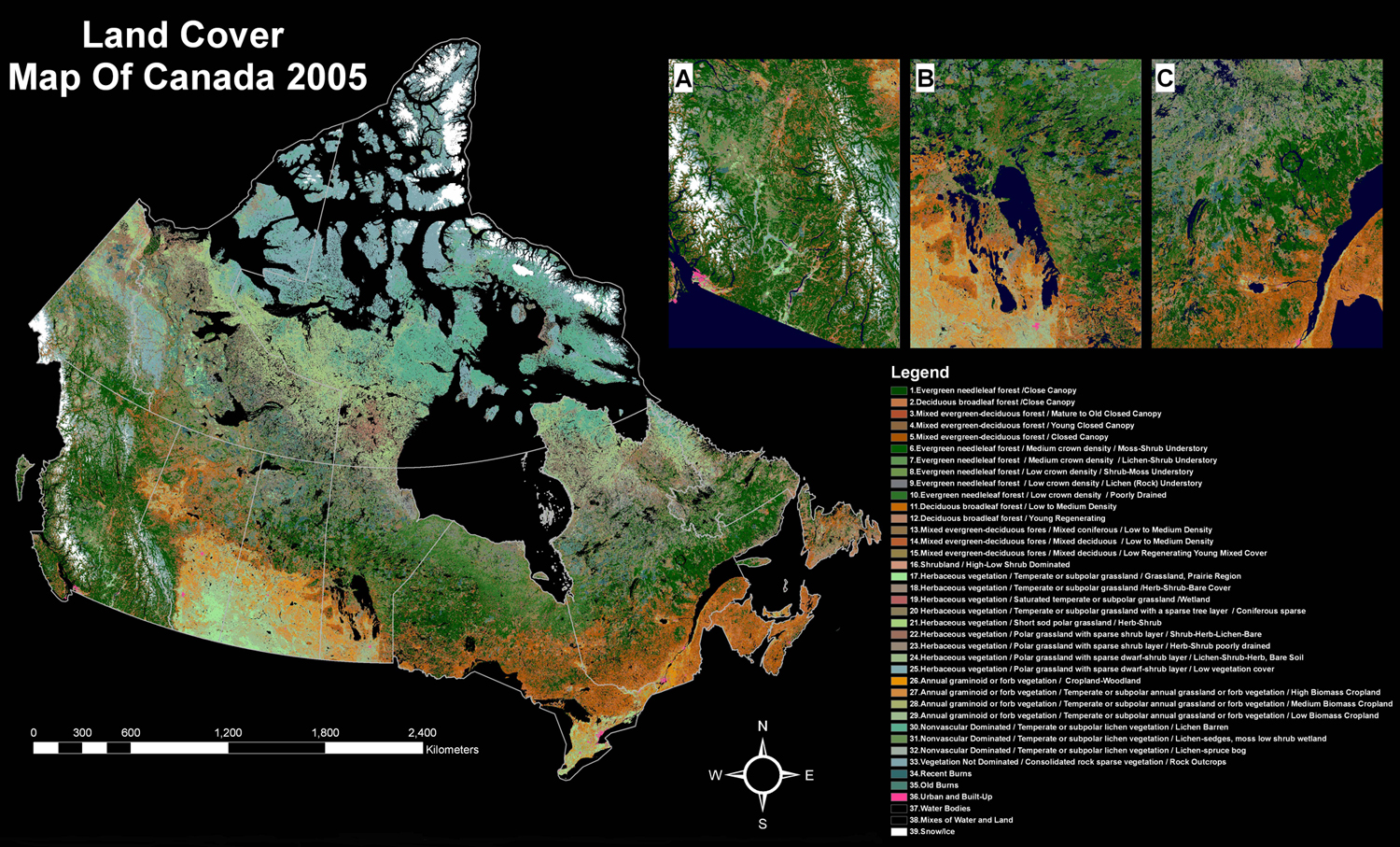 This map shows the status of land cover across Canada in 2005. As noted in the text, an important set of satellite images were geometrically and radiometrically corrected, refined and integrated to generate this product. This map includes a legend covering 39 items, most of which refer to various types of plant coverage.
