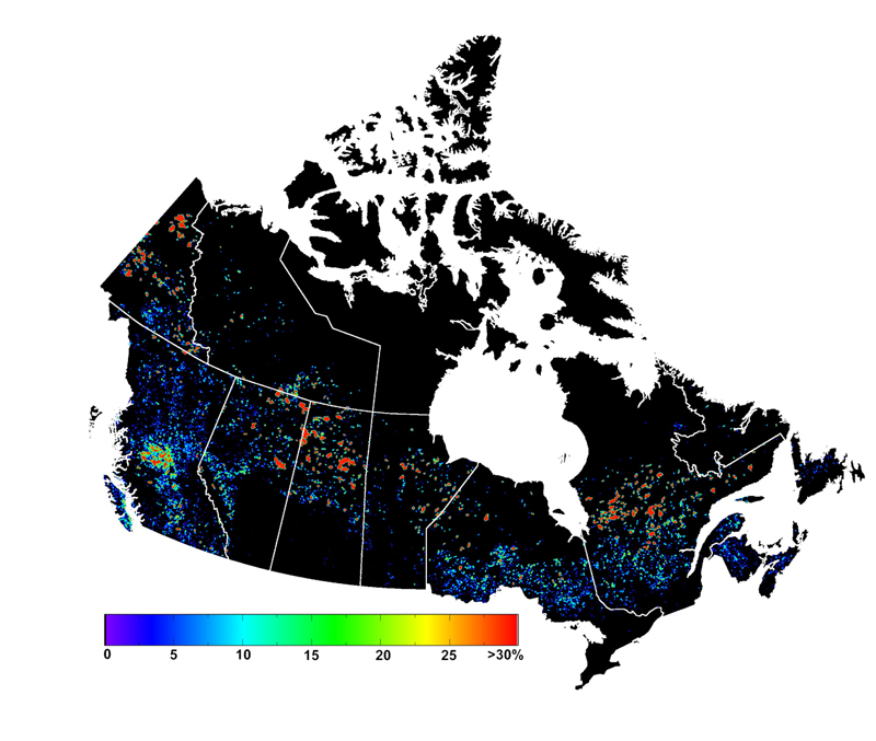 This map shows the changes in forest disturbance across Canada between 2001 and 2006. A scale ranging from 0% to over 30% provides an indication of the percentage of these variations. It is noted that large areas have suffered little disruption, while other regions have experienced significant disruptions, sometimes associated with fires or infestations, as explained in the description of the figure.