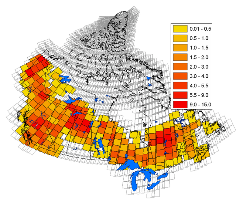 This map of Canada shows a group of Landsat images covering mainly the south where the rate of change is estimated in the area covered by each of the scenes. The map is accompanied by a change of scale legend ranging from .01 to 15%.