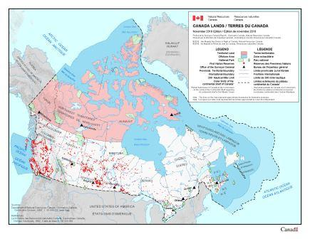 Thumbnail image showing location of Canada lands on map of Canada.