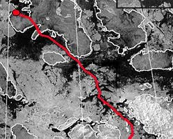 Image map created from RADARSAT data - to plan their route