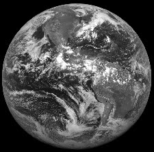 Hemispherical image of the Earth's surface acquired by a geostationary satellite in equatorial orbit at an altitude of 36,000 km