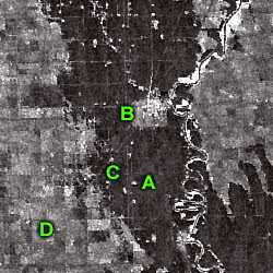RADARSAT image of the Manitoba Flood