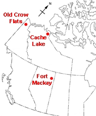 The purpose of this illustration is to show the location of the three water study sites. The Old Crow Flats site is located in the Yukon. The Cache Lake site is located in the Northwest Territories, and the Fort Mackay site is located in Alberta.