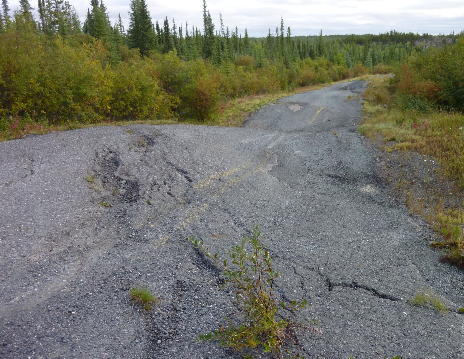 Permafrost effect on pavement . Photo by R. Fraser, NRCan # 2014-038