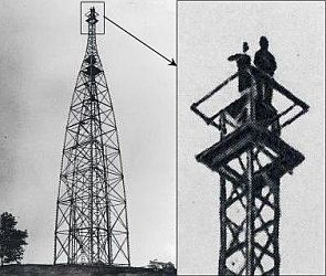 Left: Technicians atop wooden observing tower with a sky background. Right: Close-up of technicians on top of tower