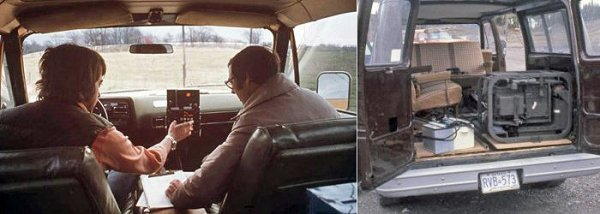 Left: Technicians in a van operating a console. Right: ISS in the back of a van