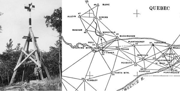 Left: Triangulation station on a rocky outcrop. Right: Map of triangulation network between Ottawa, Ontario and Rigaud Quebec