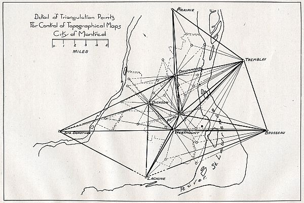 Sketch of City Of Montreal triangulation network for control of Topographical maps
