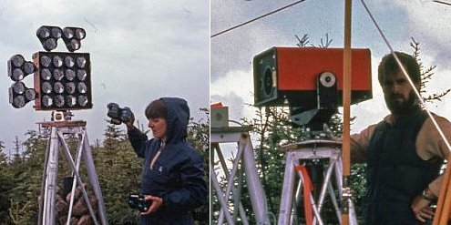 Left and right: technician taking measurements with EDM equipment.