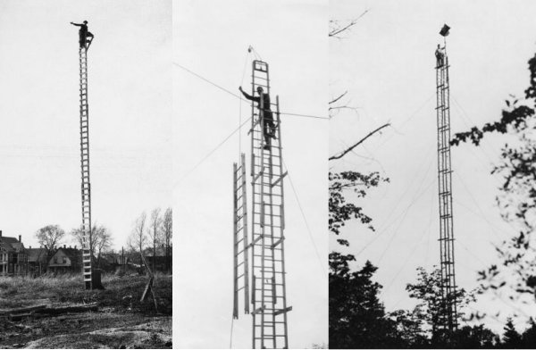 Left, middle and right: Technicians on top of reconnaissance towers in the field