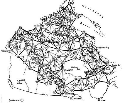 Canada map with trilateration network. Mostly spread across Northern, Central and Eastern Canada