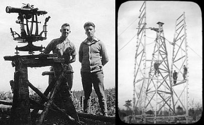 Left: Two technicians standing next to theodolite in the field. Right: Three technicians on timber towers in the field