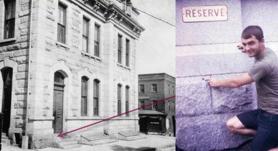 Left:  Outside of Post Office with red arrow pointing at benchmark number 1 on side of building.  Right: Technician kneeling by the side of the building pointing to the number 1 benchmark