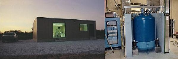 Left: Outside of CAGS station at dusk. Right: Absolute gravimeter installed indoors with computer to the left