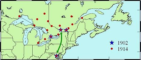 Map of southern Ontario, southern Quebec, Northeast United States and the Maritimes with locations of gravity measurements with blue stars representing 1902 measurements and red dots representing 1914 measurements showing the tie between Ottawa and Washington by a green arrow