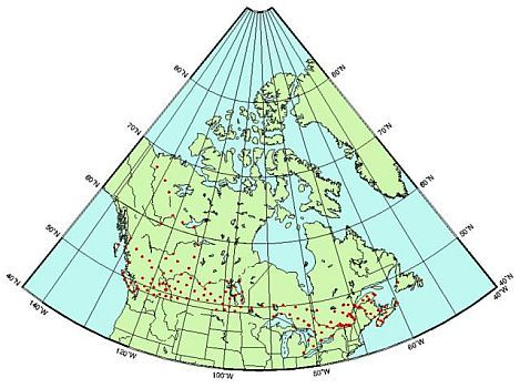 Map of Canada showing 150 gravity observations with red dots across the country