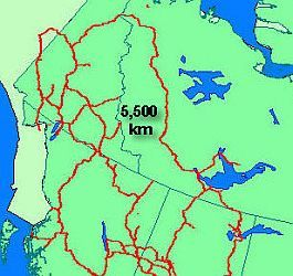 Map of Northwest Canada showing the 5500 km levelling loop in red