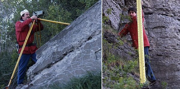 Left: Technician on rock outcrop looking through a level. Right: Technician on rock outcrop holding a levelling rod