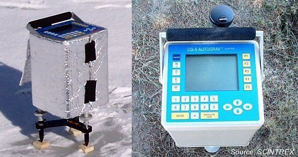 Left: CG-5 gravimeter wrapped in foil on snowy ground. Right: CG-5 gravimeter console interface.