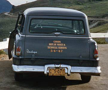 Department of mines & technical services vehicle by the side of road