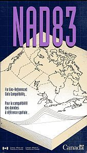 Cover page of NAD83 guide showing a book with layers and a map of Canada