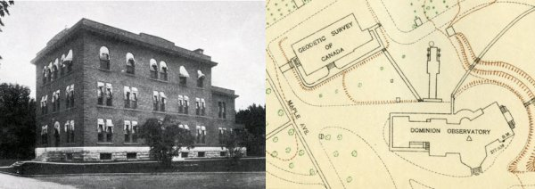 Left: outside view of the Geodetic Survey building Right: Top view sketch of building location