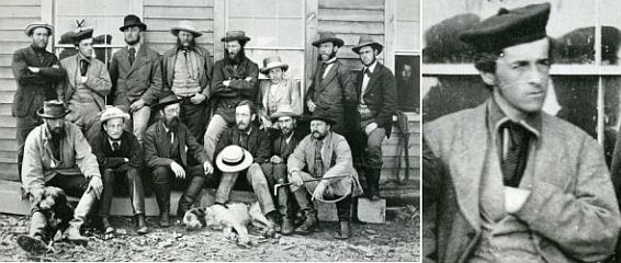 Left: Group shot of field group from the early 1900's. Right: Cropped close-up headshot of W. F. King from group shot in the left picture