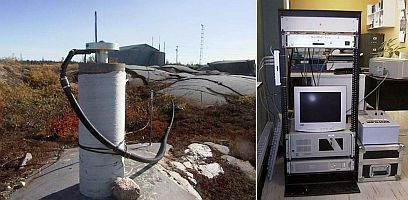 Left: Concrete pillar with antenna attached at the top in a field. Right: Computer equipment on a rack in a laboratory.